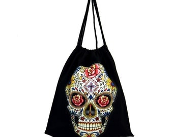Black Tote Bag Drawstring Backpack Sack with Colorful Day of the Dead Skull