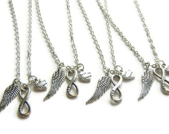 4 Best Friends Necklaces, Angel Wing, BFF Infinity Best Friends, Four Best Friends Necklaces, 4 Friends Jewelry, Four Friends Necklaces