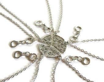 5 Pizza Best Friend Handcuff Partner In Crime Best Friend Necklaces,5 Best Friends,5 Best Friends Necklaces,Pizza Necklace,Five Best Friends