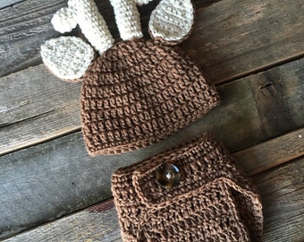 TREASURY ITEM, Crochet Deer Antler Hat and Diaper Cover Set, Crochet Baby Hat, Crochet Newborn Hat, Deer Hat, Hunting Hat
