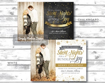 holiday card, christmas card, pregnancy announcement, new baby, we're trading silent nights for a bundle of joy, PRINTABLE or PRINTED CARDS