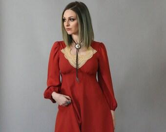 Vintage 70's Boho Burnt Siena Prairie Dress with Lace Yolk
