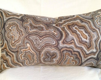 Single Lumbar Decorative Pillow Cover-14 X 23 Inch Gold and Gray Swirl Design-Accent Kidney Pillow Cover-Free Shipping.