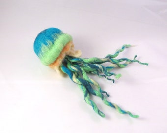 Handmade Fetled Jellyfish - Large Green and Blue Wet and Needle Felted Jellyfish with Long Tentacles