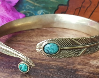 Turquoise Brass Rustic Feather Arm Cuff Bracelet Tribal Gypsy Festival Boho Jewelry Bangle