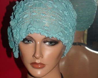 Lace Flapper Hat Cloche Church Daytime 1920 style Personalized  Blue Lace Headdress Millinery ArtWork