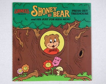 1987 Shoney's Shoney Bear  and His Just For Kids Menu, Press Out Treehouse