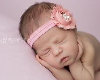 Pink Headbands, Antique Pink Headband, Newborn Headbands, Baby Headbands, Shabby Chic Headbands, Photography Prop