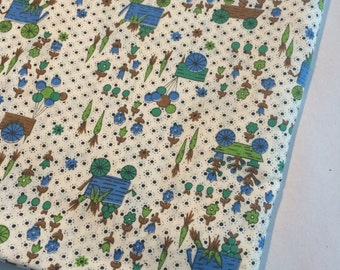 sweet green, blue and white calico fabric  1.3 yard