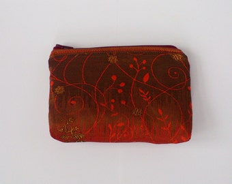 Handmade Cambodian Silk Zippered Pouch/ Coin purse/ Small bag/ Organizer in Red and Gold ethnic pattern 4X6 IN/ Gift/ Special Occasion