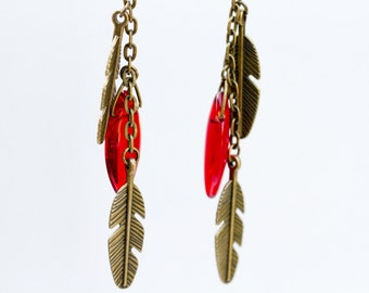Antique Brass Feathers and Red Glass Bead Earrings | Available in Black | Made to Order
