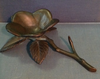 Flower metal sculpture bowl figurine bronze finish metalwork art romantic cottage chic woodland home decor