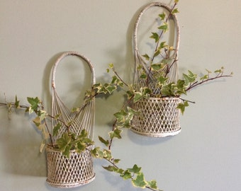 Pair of wicker sconce basket wall hanging pocket white chippy paint rustic farmhouse french country romantic cottage shabby chic home decor