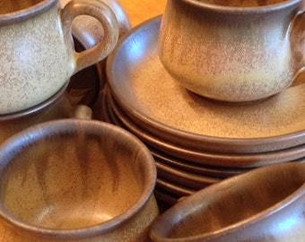 "Vintage Denby Stoneware Denby Pottery ""Romany Brown"" - Set of Four English Pottery Cups and Saucers"