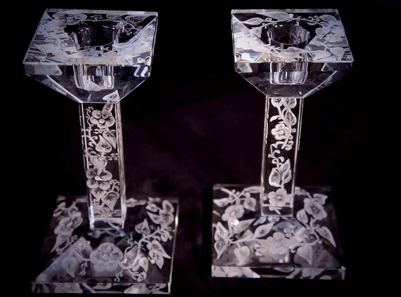 Hand Engraved crystal Candleholder, flowers, sunflowers, home decor, etched, handengraved, candlesticks,office decor, crystal gift, gift