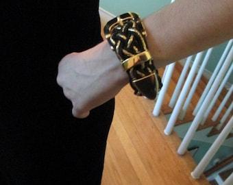 Vintage Belt Bracelet Handmade Black and Gold Belt Bracelet OOAK