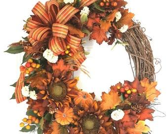 Fall Wreath, Front Door Fall Wreath, Autumn Wreath, Harvest Wreath, Fall Decor, Front Door Wreath, Elegant Fall Wreath, Wreaths