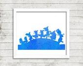 Disney's Peter Pan Lost Boys Blue Watercolor 5x7 Digital Print