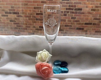 Champagne Flute Etched with Rose and Name