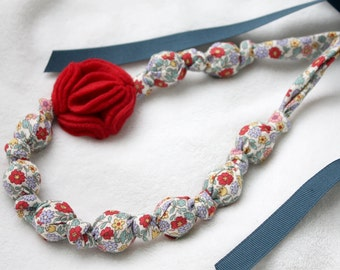 Fabric Necklace,Teething Necklace, Chomping Necklace, Nursing Necklace - Flowers and Red