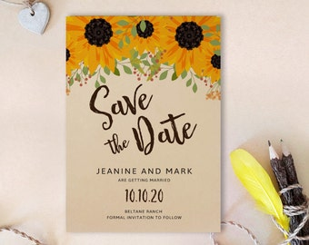 Sunflower save the date | Etsy