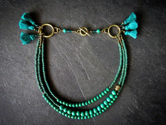 Necklace Bolivia: pompom, wood, teal, glass, turquoise, Buddha