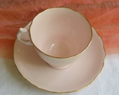 Vintage Vogue Teacup Saucer - England, Bone China, Pink, Gold Rim - Beautiful!