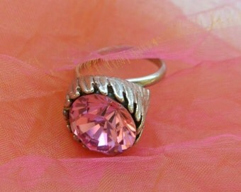 1970's Pink Ring, Statement - Silver Metal, Adjustable, Hand Made - Vintage - Fabulous!