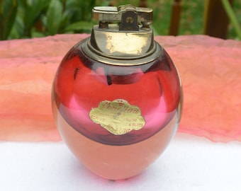 Vintage  Alfredo Barbini Murano Glass - Table Lighter, Venetian, Cranberry Color - 1940's - Gorgeous!