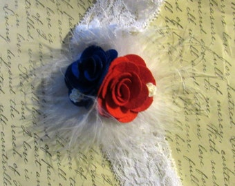 Red, White, Blue Flower Feather Lace Headband