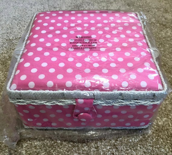 Basket Weaving Nuneaton : Sewing box pink spotty polka dot basket