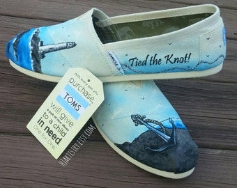 Wedding Toms. Anchor Themed Toms. Nautical Theme Toms. Lighthouse Toms. Wedding Theme Toms, Hand painted Toms Shoes.