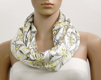 White Scarf Infinity Scarf Floral Scarf Satin Scarf Fashion Scarves Scarf Shawl Cowl Scarf Tube Scarf Summer Scarf Gift for her Handmade
