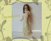 SUNSHINE yellow/gold velvet Gown & Scarf / Boa- Dawn Doll Clothes- Custom Fashion - by dolls4emma