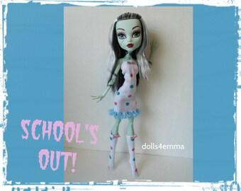 "OOAK Monster High 17"" Doll Clothes - Dress and Socks - Handmade custom fashion by dolls4emma"