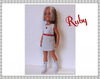 "Vintage Ideal 18"" CRISSY & Brandi Doll CLOTHES - Mod Dress, Belt, Boots and Jewelry - Handmade Custom Fashion - by dolls4emma"