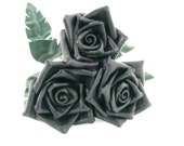 3 Black Leather Roses Flower Bouquet  Long Stem Green Leather Wife/Girlfriend/Valentines Day Gift