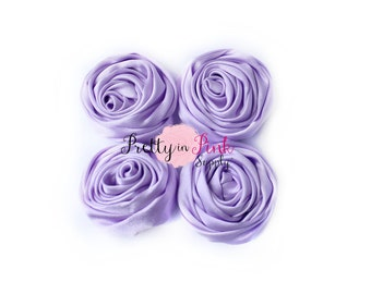 Lavender Small Satin TWISTED Rosettes...You Choose Quantity...Rolled Rosettes..Rolled Rosettes...Rosettes
