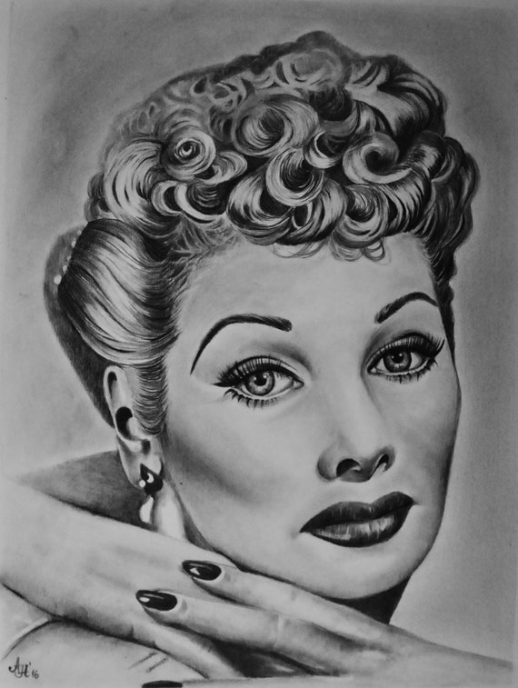 lucille ball coloring pages | Lucille Ball Original Pencil Portrait by adrianaholmesart
