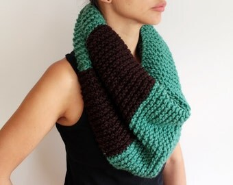 Hand knit Teal and Brown Knit Cowl Oversized Infinity Scarf Hooded Cowl Loop Scarf Wool Blend Scarf Winter Fashion gift for her him