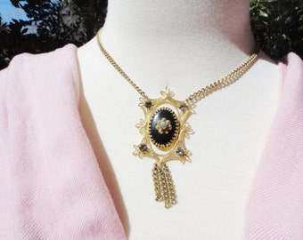 Vintage Victorian Style Rhinestone Gold Tone Metal Necklace with Black Cameo Style Center