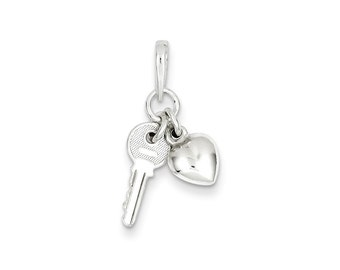 Sterling Silver Heart with Key Charm