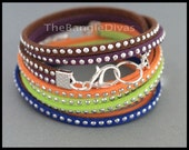 WHOLESALE Bulk LOT of 10 - BOHO Stackable Silver Studs Faux Suede Cord Gypsy Double Wrap Bangle Bracelet - Instant Ship - Alex and Renee Usa