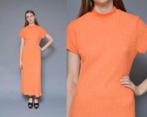 90s BLAZE ORANGE mock turtleneck maxi dress // neon grunge goth REVIVAL mock turtleneck ribbed stretchy basic minimal short sleeve dress