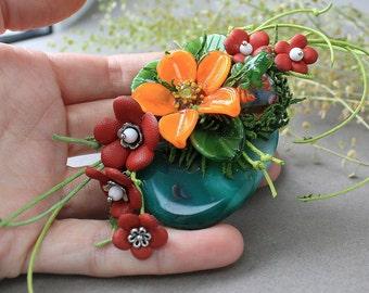 Glass Lampwork Pendant with Frog, Lampwork Necklace, Handmade Glass Pendant, Lampwork Flower Necklace, Lampwork Animal, Lampwork Jewelry