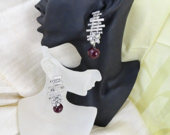 Silver dangling ear rings. Indian silver and white american stone earings. Modern ethnic earrings from India.  From Artikrti.