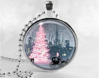 PINK CHRISTMAS Necklace, Pink Christmas Tree, Christmas Necklace, Christmas Jewelry, Pink Shabby Christmas, Christmas Pendant