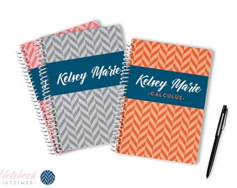 Medium 100 Page Personalized Notebook • Orange & Dark Blue • 16721M •