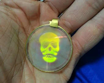 Vintage 1980s GLASS Clear 3D Hologram Pendant gold colored Skull