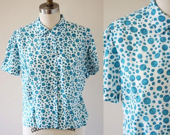 1960s painted blue dot // 1960s summer top // 1960s blouse